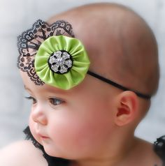 BEST DEAL  green and black baby headband, baby girl headband, shabby chic headband, elastic headband. $10.99, via Etsy.