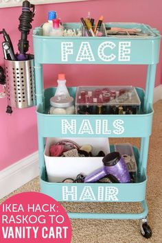 Best DIY Projects: IKEA Raskog Hack, a DIY Rolling Vanity Cart with attached holder for curling or flat iron. Great for shared bathrooms