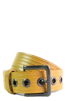 Description Made from the rarest of decommissioned fire-hoses, this unisex yellow robust water resistant totally versatile unisex belt with its nickel free buckle will fit you anywhere from waist to h