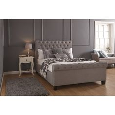 Groupon Goods Ottoman Buttoned Bed Frame: Silver/King with Tufted Bonnell Mattress Ottoman Bed, Upholstered Ottoman, Cardboard Box Crafts, Bed Frame With Storage, Foam Mattress, Tufting Buttons, Home And Family, Furniture, King