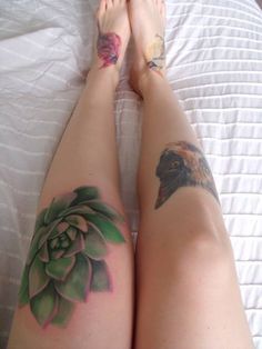 """Succulent plant tattoo. I realize this may be """"off topic,"""" but some folks do love sedum and succulents quite a bit."""