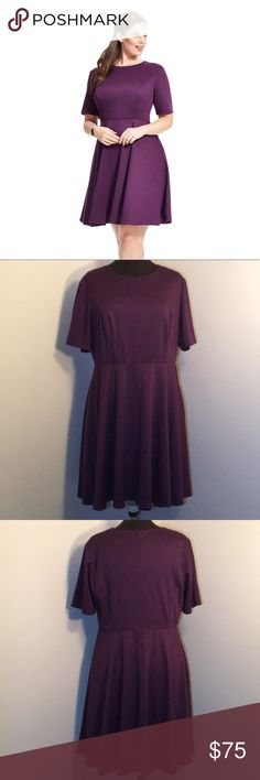 MBN Eggplant Purple Fit & Flare Dress Ponte knit fit-and-flare dress in eggplant purple with scoop neck and short sleeves, slight stretch, invisible back zip with hook closure, set-in waist, lined.    ▪REASONABLE OFFERS WELCOMED or BUNDLE FOR A SPECIAL DISCOUNT ▪️  Tags: cute, sexy, timeless, classic, simple, flattering, plus size, graduation, fall, holiday, pretty MBN Dresses