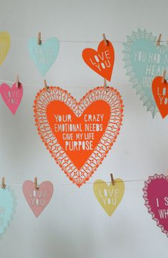 Crazy Emotional Needs Valentine by owlyshadowpuppets on Etsy Diy Love, Heart Day, Love Heart, Funny Valentine, Valentines Diy, Love Days, Paper Cutting, Cut Paper, Paper Goods