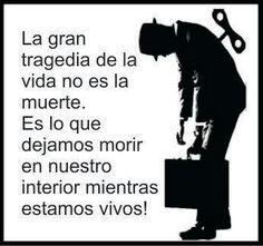 La gran tragedia de la vida no es la muerte, sino lo que dejamos morir en nuestro interior mientras vivimos.