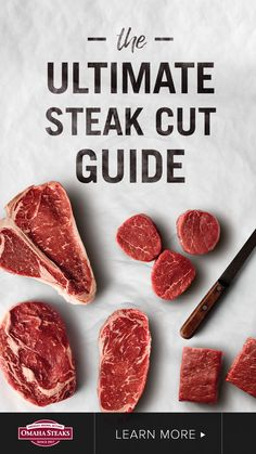 Choose the best steak cuts with Omaha Steaks ultimate steak cut guide featuring filet mignon, ribeye, New York strip, top sirloin, t-bone and flat iron steaks. From tender to firm textures and bold to mild beef flavors, this guide will help you choose the best steak for your taste or recipe. #steak Best Cut Of Steak, Steak Cuts, Gourmet Recipes, Dessert Recipes, Cooking Recipes, Different Cuts Of Steak, Omaha Steaks, Milk Dessert, Flat Iron Steak