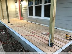 Finished Front Porch Floor (Wood Front Porch Built Over Existing Concrete Porch) - Addicted 2 Decorating® Patio Set, Pergola With Roof, House With Porch, Decks And Porches, Porch Makeover, Porch Flooring, Concrete Porch, Porch Kits, Building A Porch