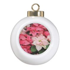 Pink Poinsettias Holiday Ornament