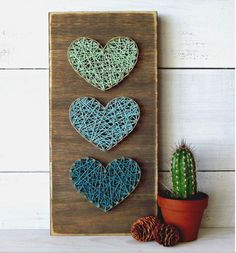 Teal & Mint Mini Hearts String Art Sign.
