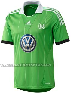 The VfL Wolfsburg Home Shirt is white with green adidas logo and stripes as  well as a green round collar. The VfL Wolfsburg Away Shirt ... b0b00d5c3
