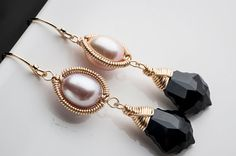 Gold Dangle Earrings w/ Rose Pink Pearl & Exotic by mosaicdesign, $65.00