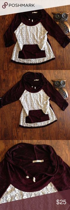 CAHNCE OF FATE MAROON HOODIE W/LACE OVERLAY FRONT size XL BEAUTIFUL SWEATER FOR FALL AND WINTER IN A WARM MAROON WITH TINY BLACK LINES GOING THREW IT GIVING IT A MORE DIMENSIONAL LOOK AND NOT A FLAT LOOK. GREAT GIRLY FLIRTY LACE OVERLAY ON THE FRONT CHANCE OF FATE Sweaters