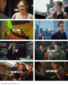 """#Divergent VS #Insurgent I read it as """"i will we belong dont in belong dauntless anywhere"""""""