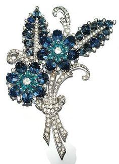 Mazer Blue Floral Rhinestone Pin Brooch
