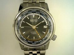 Vintage 1964 Seiko 17 Jewel DiaShock Automatic World Timer. Watch Keeps Excellent Time. All Functions Working Properly. New Crystal. New Seiko Stainless Steel Band.