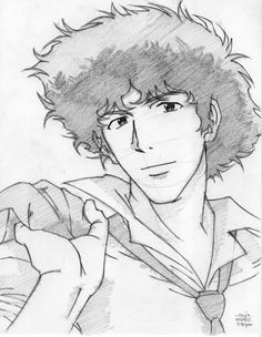 sketch of spike from cowboy bebop. Anime Guys, Manga Anime, Anime Art, Cowboy Bebop, Cowboy Anime, Famous Graffiti Artists, See You Space Cowboy, Anime Lineart, Arte Indie