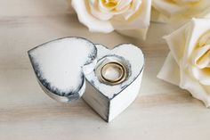 White Ring Bearer Box Heart Shaped Ring Box by MyHouseOfDreams