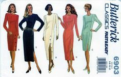 PATTERN 6903 Misses straight Dress sz 6 8 10 12 princess seams fitted NEW uncut #Butterick #princessseamssidebuttonfront