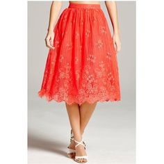 Little Mistress Lace Scalloped Hem Skirt&Nbsp; (90 CAD) ❤ liked on Polyvore featuring skirts, floral lace skirt, red full skirt, red skirt, red lace skirt and vintage full skirt