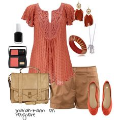 Coral and tan   #style #fashion