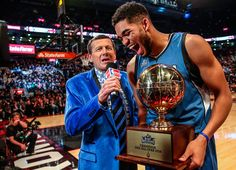 Craig Sager interviews Karl-Anthony Towns after he received the Skills Challenge…