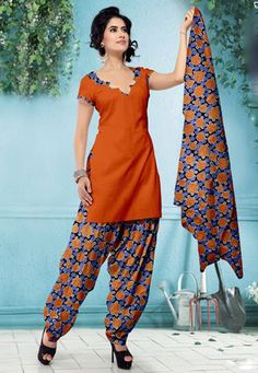 USD 29.08 Orange Cotton Printed Salwar Kameez    37522