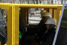 The first passengers of the 2015 season board the newly-refurbished passenger car to experience the Lackawanna County Coal Mine Tour.