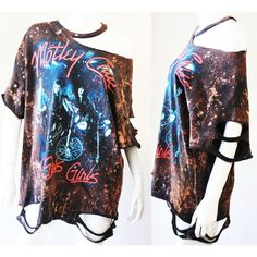 Motley Crue Starry Sky Bleached Distressed Mini Dress or Tee Bleach T... ($50) ❤ liked on Polyvore featuring dresses, grey and women's clothing