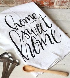 Home Sweet Home Tea Towel - Calligraphy Kitchen Decor - Hand Lettering Tea Towel - Kitchen Decor - Gift for Mom, Sister, or Best Friend Dish Towels, Tea Towels, Kitchen Signs, Kitchen Decor, Kitchen Quotes, Sweet Home, Ideias Diy, Chalkboard Signs, Cricut Creations