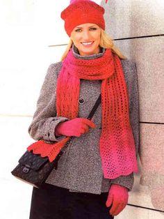 Ажурные узоры для вязания шапки, шарфа и перчаток спицами