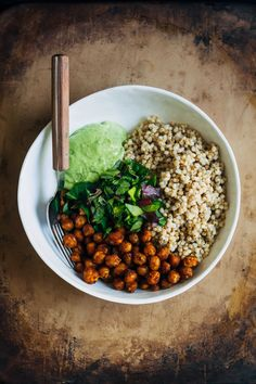 This easy, delicious vegan buddha bowl is made with a mouthwatering avocado vinaigrette, curry chickpeas, and wholesome sorghum.