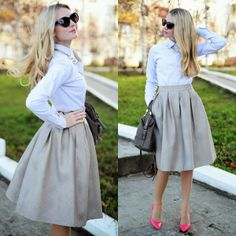 Faux Leather Diamond Pleated Skirt in Ivory