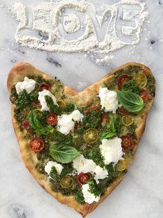 Easy Pesto Sauce Pizza Recipe ( heart shaped pizza ) on the crispiest pizza crust | CiaoFlorentina.com