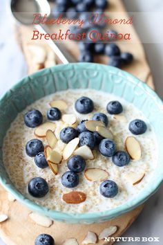 Blueberry Almond Breakfast Quinoa. 1. In a large glass measuring cup, whisk together milk, cinnamon and vanilla bean seeds.  2. Scoop the quinoa evenly into serving bowls. Serve immediately with milk mixture, topped with blueberries, almonds and a drizzle of honey.