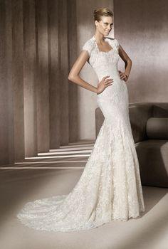 Cap sleeved lace mermaid wedding dress - 2012 Wedding Dresses by Manuel Mota
