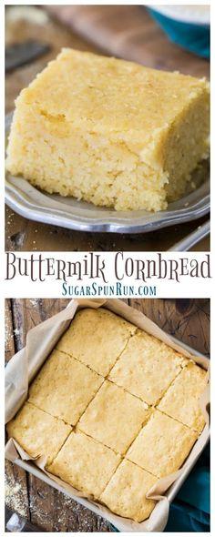 The best Buttermilk Cornbread recipe you'll ever try! #cornbread #baking #comfortfood #buttermilk via @sugarspunrun