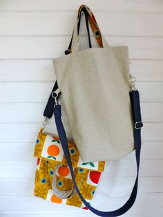 Reversible tote bag made with linen and vintage fabric