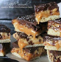 Salted Caramel Cookie Dough Billionaire Bars