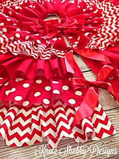 42 Inch Red Chevron and Polka Dot Tree Skirt by Knot2ShabbyDesigns