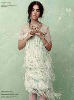 Lilly Collins in Oscar de la Renta - LA Times Magazine