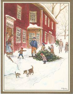 Caspari Christmas card, by Tasha Tudor