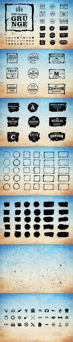 1080 Vintage Grunge Logo Variations - Badges & Stickers Web Elements