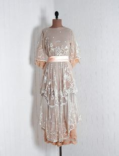 1910's Antique Vintage Ivory-White Tambour Embroidered-Net Lace and Peach Crepe-Chiffon Edwardian Scenic-Garden Couture Tiered-Ruffle Sheer French-Flapper Goddess Draped-Sides Fairy Tea-Length Wedding Party Cocktail Gown Dress