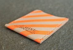 Items similar to Leather Card Case / Wallet - Neon Orange on Etsy Business Card Holders, Business Cards, Leather Card Case, Vegetable Tanned Leather, Design Reference, Gifts For Girls, Handmade Gifts, Etsy Handmade, Screen Printing