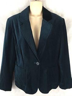 Briggs New York Petite Size 14 Velvet Velour  Blazer Jacket Coat Dark Teal  #BriggsNewYork #Blazer