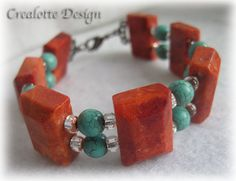 Bamboo coral and turquoise gem stone bracelet by crealotte on Etsy, $29.90
