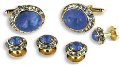 Sapphire Stone Center Austrian Crystal Tuxedo Studs and Cufflinks Gold Trim *** Continue to the product at the image link.
