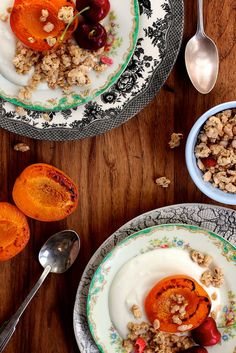 Roasted apricots with homemade maple peach granola. Breakfast heaven!