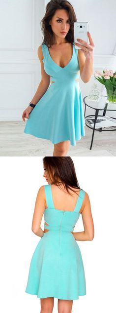 Blue Homecoming Dress, Short Prom Dress, Cutout Sides Party Dress