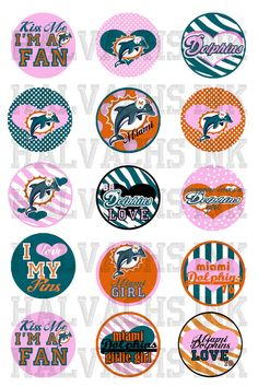Miami Dolphins INSPIRED Bottle Cap Images Digital Printable File 4x6 02. $2.00, via Etsy.