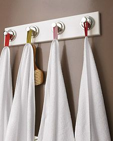 No one likes drying off with someone else's used towel (yuck!). So stop torturing your houseguests: Sew loops of colorful twill tape (in a variety of shades) onto the corners of a look-alike batch of bathroom or beach towels.